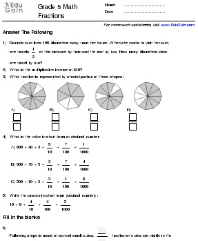 Grade 5 Math Worksheets and Problems: Fractions : EduGain Global