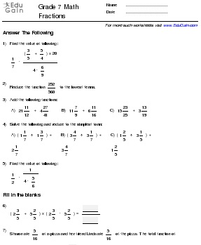 math worksheet : grade 7  la ruta del ter : Fractions Grade 7 Worksheets